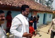 hindi-news-bjp-mla-sharad-kaul-found-campaigning-in-ramnagar-satna