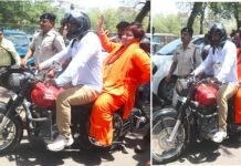bhopal-sadhvi-pragya-singh-thakur-started-campaign-on-motorcycle