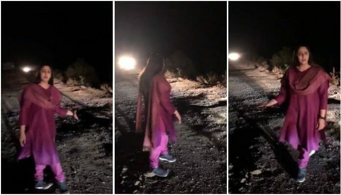 When-Actress-Nagma-made-a-video-shoot-on-'Good-roads-from-America'