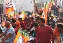 last-day-bjp-candidate-sudesh-rai-bike-rally-in-sehore