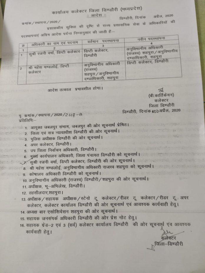 डिंडोरी कलेक्टर की बड़ी कार्रवाई, भ्रष्टाचार के आरोप के बाद शहपुरा SDM को हटाया