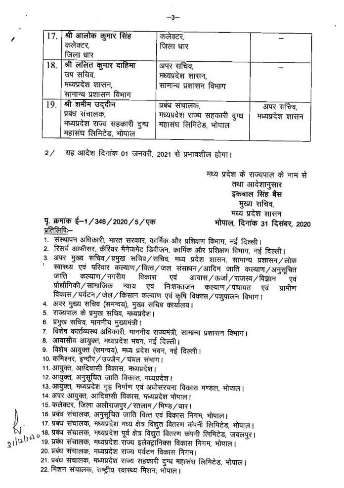 मध्य प्रदेश में आईएएस अधिकारियों के प्रमोशन, आदेश जारी, देखिये लिस्ट