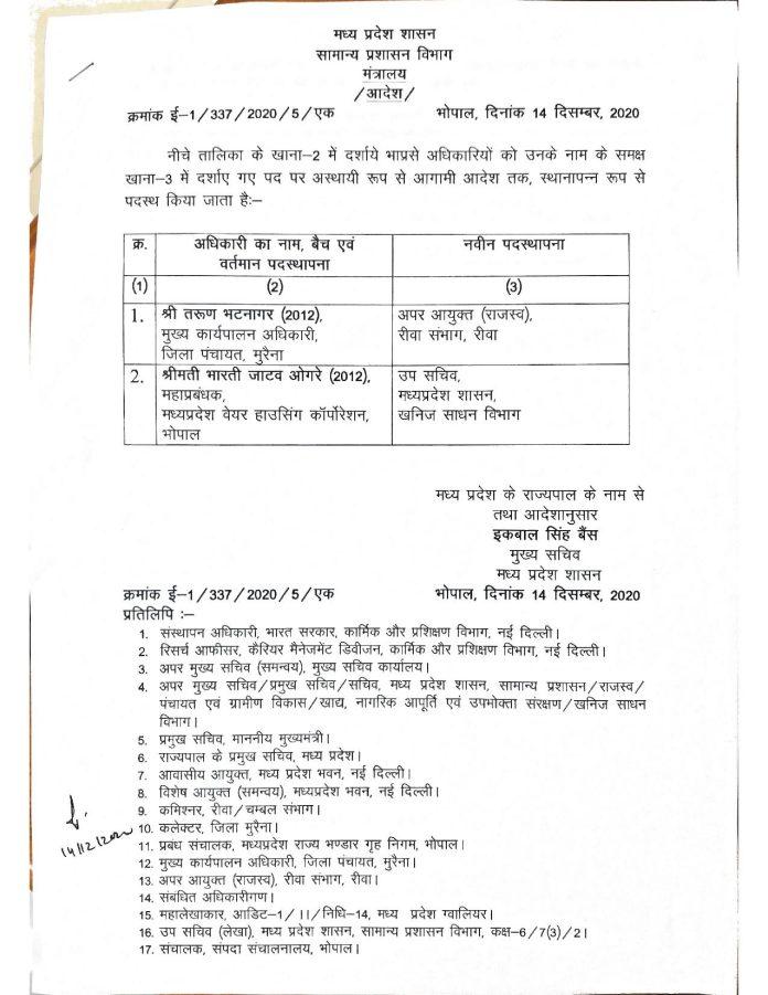 IAS Transfer : मध्य प्रदेश में आईएएस अधिकारियों के तबादले, यहां देखिये लिस्ट