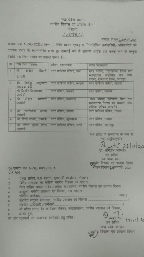 Transfer : नगरीय विकास एवं आवास विभाग में उपयंत्रियों के तबादले, यहां देखिये सूची