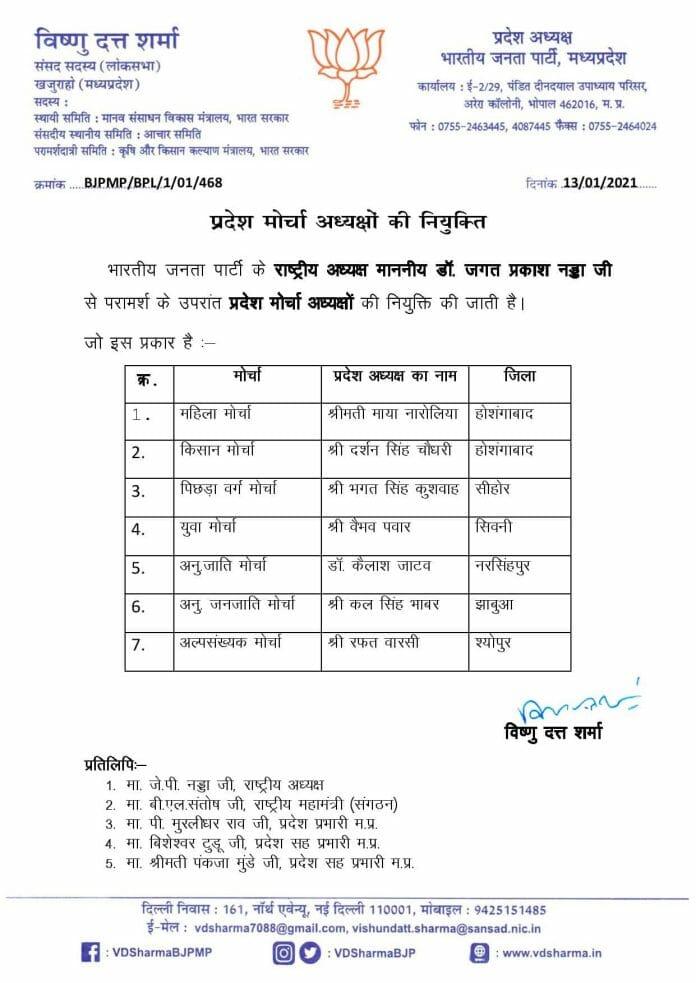 बीजेपी प्रदेश अध्यक्ष वीडी शर्मा की टीम का ऐलान, प्रदेश पदाधिकारियों और मोर्चा अध्यक्षों की घोषणा, देखिये लिस्ट