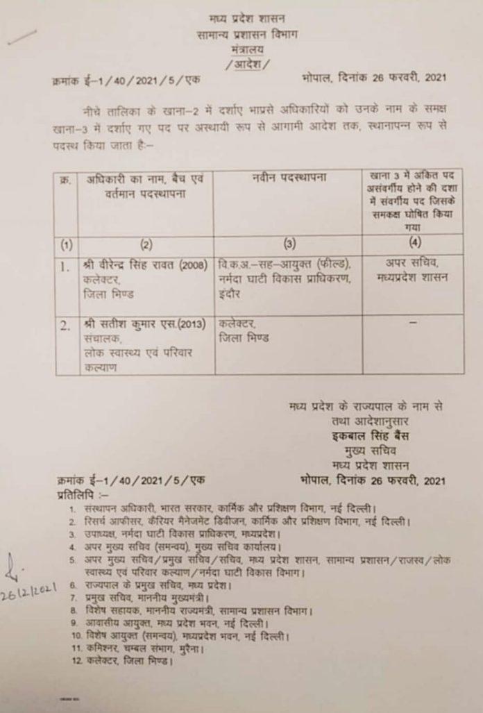 Transfer : IAS सतीश कुमार बने भिंड के नए कलेक्टर, सरकार ने जारी किया आदेश