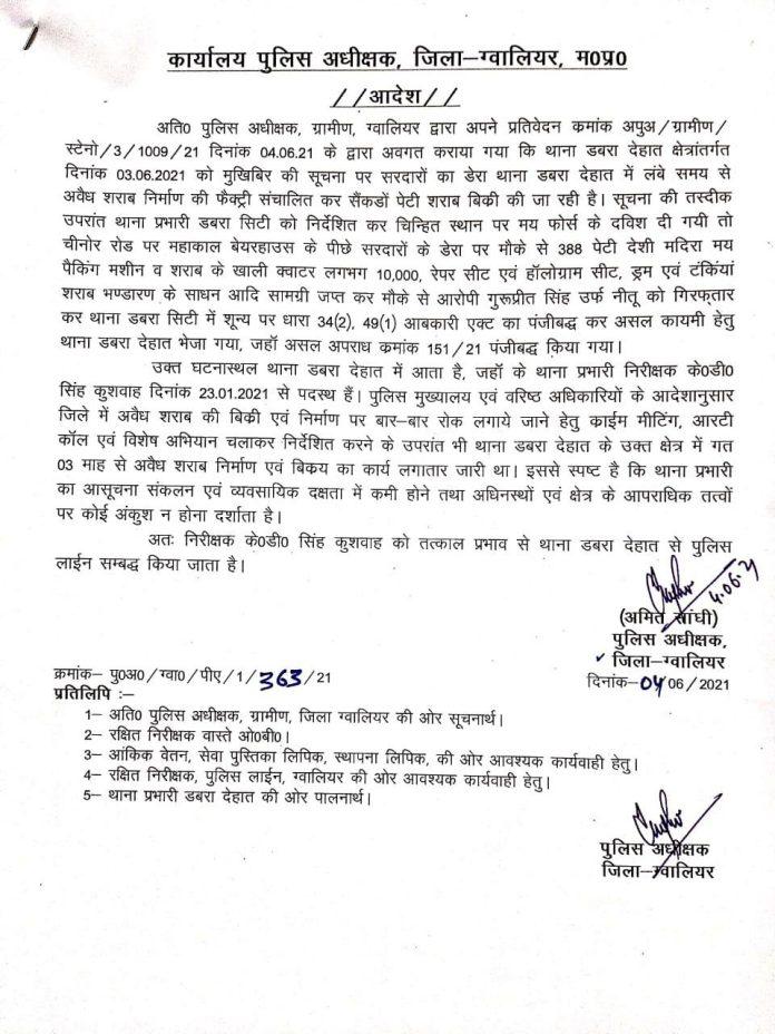 डबरा अवैध शराब फैक्ट्री मामला: 2 ASI समेत 5 पुलिसकर्मी निलंबित, TI लाइन अटैच