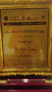 ग्वालियर के डॉक्टर को मिला प्रतिष्ठित Asia Pacific Excellence Award