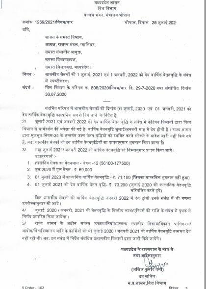 MP के कर्मचारियों के लिए वेतनवृद्धि को लेकर बड़ी खबर, वित्त विभाग ने जारी किया ये आदेश