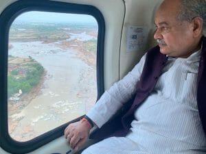केंद्रीय मंत्री तोमर का मुरैना श्योपुर हवाई दौरा, युद्ध स्तर पर राहत पहुंचाने के निर्देश