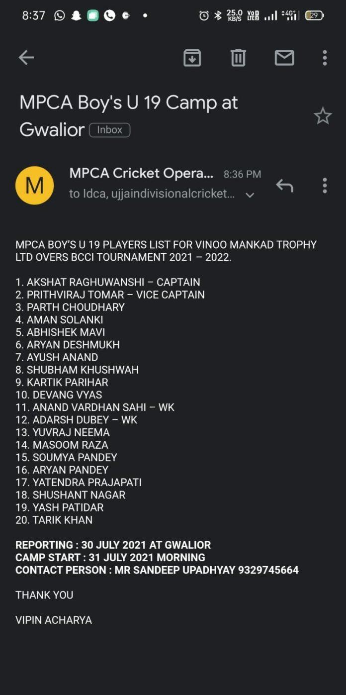 अशोकनगर के होनहार क्रिकेटर अक्षत रघुवंशी अंडर 19 क्रिकेट टीम के कप्तान बने