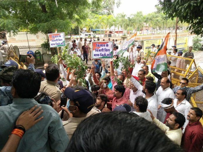 Congress took out a rally regarding the damaged soybean crops