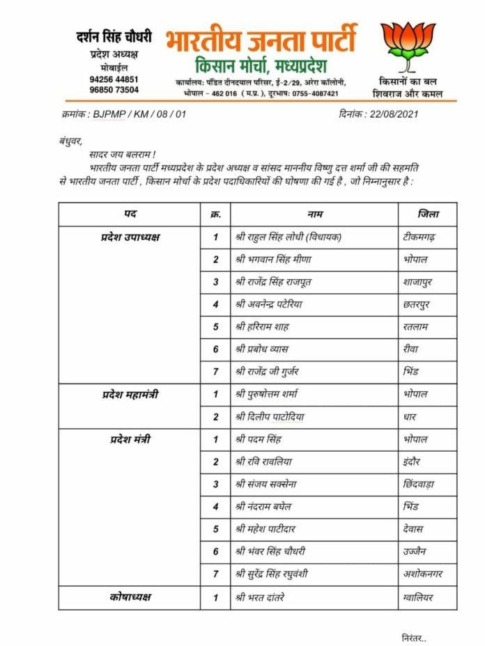 MP Politics: BJP ने की प्रदेश पदाधिकारियों की घोषणा, यहां देखें लिस्ट