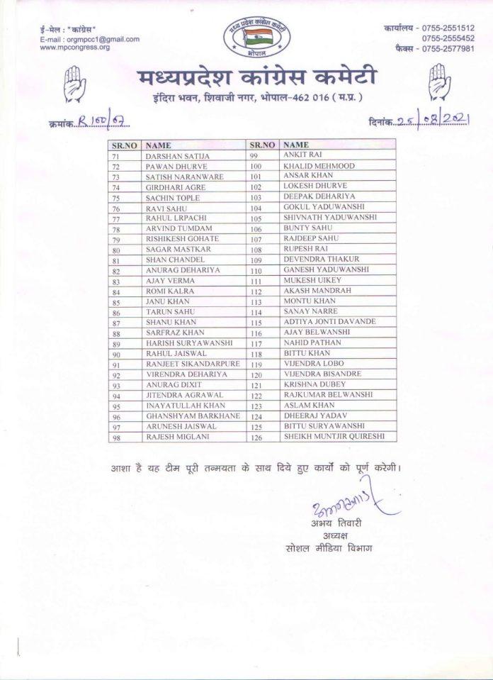 MP Politics : कांग्रेस में Reach-100 टीम का गठन, जारी की लिस्ट