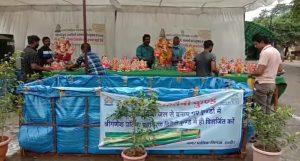 Indore News : बप्पा को दी विदाई, नगर निगम के इको फ्रेंडली कुंडों में किया विसर्जन