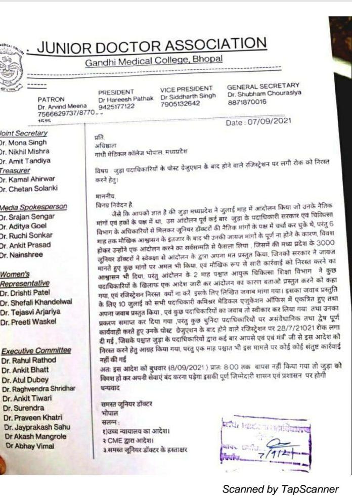 MP News : डेंगू और कोरोना के बीच प्रदेश भर के जूनियर डॉक्टर्स हड़ताल पर गए