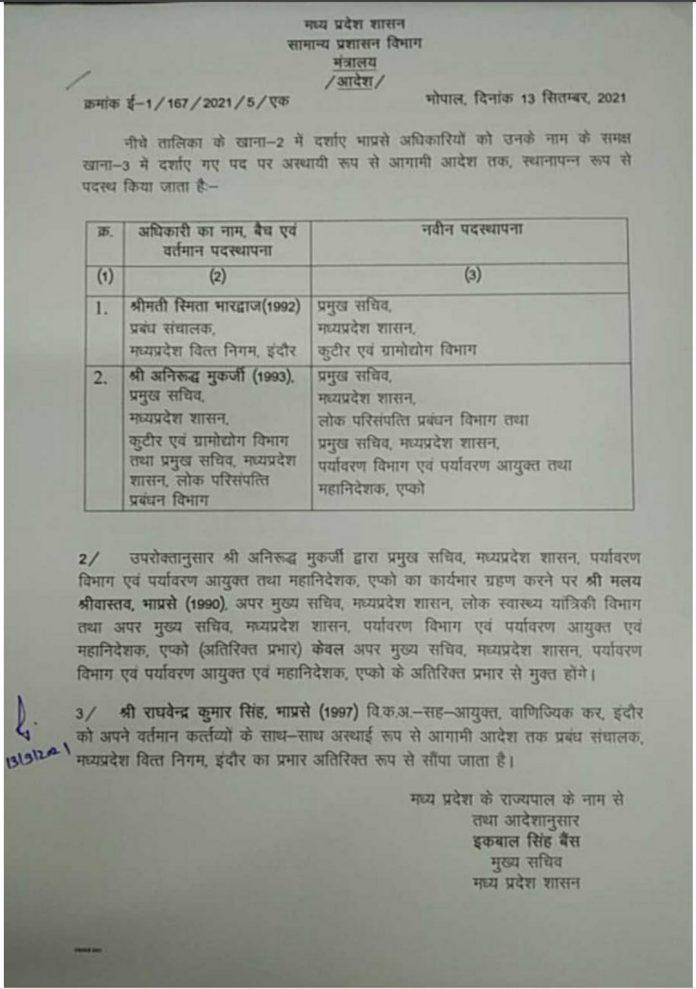 MP Transfer : IAS अधिकारियों के तबादले, देखिये लिस्ट