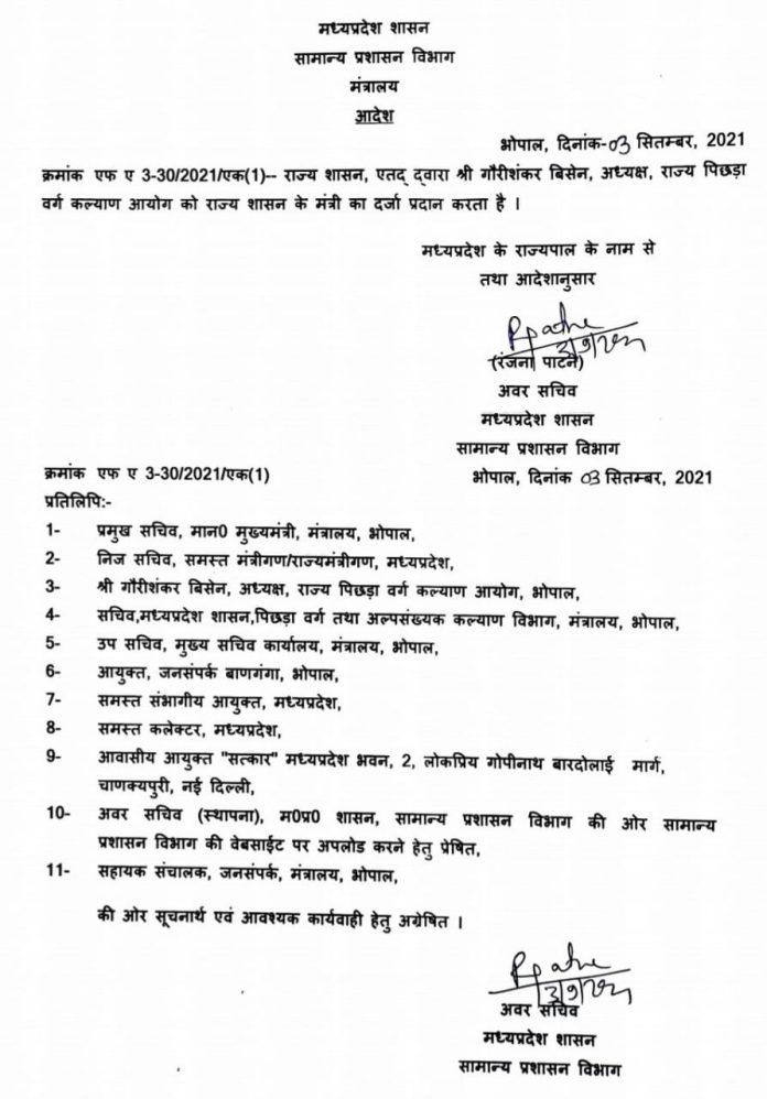 MP News: Shivraj Government ने इन्हें सौंपा राज्य मंत्री का दर्जा, आदेश जारी