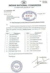MP By Election : कांग्रेस ने जारी की स्टार प्रचारकों की सूची, इन नेताओं को मिली जिम्मेदारी